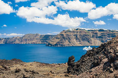 View from volcano of the Santorini island, Greece Royalty Free Stock Photos