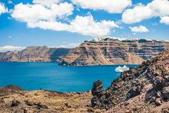View from volcano of the Santorini island, Greece. Stock Photography