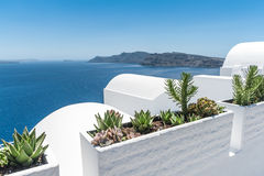 View of the volcano of Santorini from the Oia village Royalty Free Stock Images