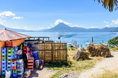 View of volcanoes across Lake Atitlan, Guatemala royalty free stock photos