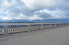 View on the Volga embankment of the Samara city in anticipation of thunderstorm. View on the Volga quay of the Samara city in anticipation of thunderstorm. City Royalty Free Stock Photos