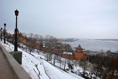 View of the Volga from the Kremlin in Nizhny Novgorod. Winter landscape with views of the river Volga within the territory of the Kremlin. The City Of Nizhny Royalty Free Stock Images