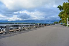 View on the Volga embankment of the Samara city in anticipation of thunderstorm. View on the Volga quay of the Samara city in anticipation of thunderstorm. City Royalty Free Stock Photo