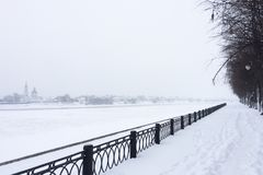 View of the Volga River bank in winter royalty free stock photo