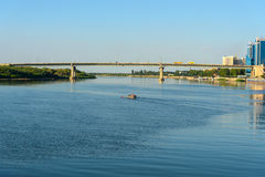 View on Volga river and bridge in Astrakhan Royalty Free Stock Images