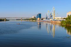 View on Volga river and cargo port in Astrakhan Stock Image