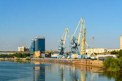 View on Volga river and cargo port in Astrakhan Stock Images