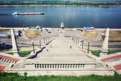 View of the Volga River and the Chkalovsky Staircase Royalty Free Stock Image