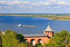 View on Volga river from Nizhny Novgorod Kremlin. Russia Royalty Free Stock Images