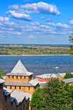 View on Volga river from Nizhny Novgorod kremlin Royalty Free Stock Images