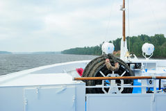 View of the Volga River from the prow of a cruise  Stock Image