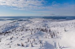 View from Volosynaya Mountain in Kandalaksha in winter. Russia royalty free stock photos