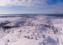 View from Volosynaya Mountain in Kandalaksha in winter. Russia stock photos