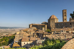 View of Volterra and landscape. View of Volterra (Pisa, Tuscany, Italy) and landscape at summer Royalty Free Stock Photos