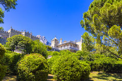 View on Vorontsov castle and the garden. Crimea, Russia royalty free stock image