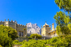 View on Vorontsov castle and the garden. Crimea, Russia royalty free stock photos