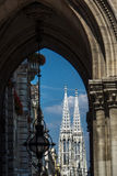 View of Votive church from other building in Vienna Royalty Free Stock Images