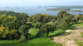 View from Vrsar over islands in the bay Royalty Free Stock Photography