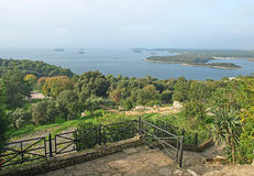 View from Vrsar over islands in the bay Stock Photography