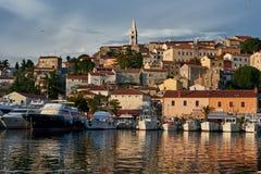 View Of Vrsar Port And Village -Istria,Croatia. Beautiful View Of Vrsar Port And Vrsar Village With Landmark Of Church Tower At Sunset-Istria,Croatia royalty free stock photos