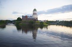 View of the Vyborg castle in the summer twilight. Leningrad region Royalty Free Stock Photo