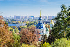 View of the Vydubychi Monastery autumn Stock Images