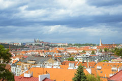 View from Vysehrad national cultural monument - the Old burgrave. PRAGUE, CZECH REPUBLIC - AUGUST 28, 2015: Prague Castle (Prazsky hrad). View from Vysehrad royalty free stock photography