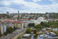 View from Vysehrad national cultural monument - the Old burgrave. PRAGUE, CZECH REPUBLIC - AUGUST 28, 2015: View from Vysehrad national cultural monument - the stock photo
