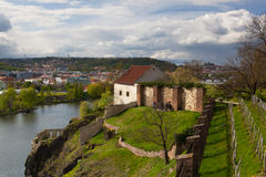 View from Vysehrad after rain, Prague, Czech Republic. Prague,Czech Republic - April  23,2017: View from Vysehrad after rain.Vysehrad is a historic fort located Royalty Free Stock Photos