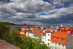 View from Vysehrad after rain, Prague, Czech Republic. Prague,Czech Republic - April 23,2017: View from Vysehrad after rain.It is a historic fort located in the Royalty Free Stock Photo
