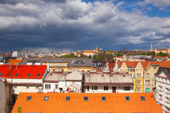 View from Vysehrad after rain, Prague, Czech Republic. Prague,Czech Republic - April 23,2017: View from Vysehrad after rain.It is a historic fort located in the Stock Photo
