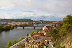 View from Vysehrad after rain, Prague, Czech Republic. Prague,Czech Republic - April  23,2017: View from Vysehrad after rain.Vysehrad is a historic fort located Stock Photo