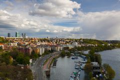 View from Vysehrad after rain, Prague, Czech Republic. Prague,Czech Republic - April  23,2017: View from Vysehrad after rain.Vysehrad is a historic fort located Stock Image