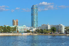 View of Vysotsky skyscraper, business center Antey and Sevastyanov house in Yekaterinburg, Russia Royalty Free Stock Photo
