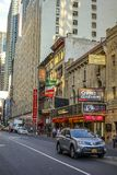 Streetview on W47th street New York. View on W47th street in New York with Brooks Atkinson theatre in the centre royalty free stock photo