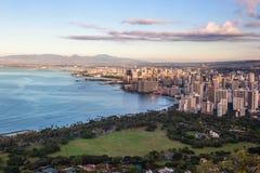 View on Waikiki beach and Honolulu in Hawaii Stock Photography