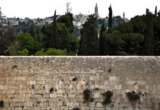 The Wailing Wall. A view of the Wailing Wall in the old city of Jerusalem and the trees &buildings (and one church) behind it Royalty Free Stock Photos