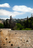 The Wailing Wall. A view of the Wailing Wall in the old city of Jerusalem and the trees &buildings (and one church) behind it Royalty Free Stock Photography