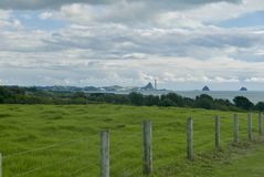 View from Waiwhakaiho trough to port Taranaki stock images