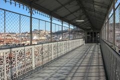 View from the walkway of the Santa Justa Lift. Lisbon. Portugal Stock Photo