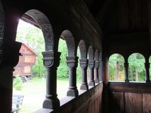 View from a stave church at the Norsk Folkemuseum Royalty Free Stock Photo