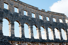 View on the wall Antique Roman forum in Pula Royalty Free Stock Photography