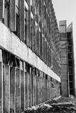 View of a wall with the broken windows and lattices. Look at an angle Royalty Free Stock Photos