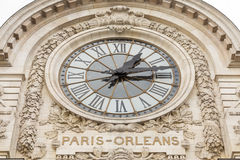 View of wall clock in D`Orsay Museum. D`Orsay - a museum on left bank of Seine, it is housed in former Gare d`Orsay royalty free stock images