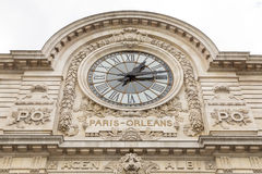 View of wall clock in D`Orsay Museum. D`Orsay - a museum on left bank of Seine, it is housed in former Gare d`Orsay royalty free stock image