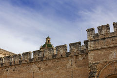 View of wall of monastery Holy Cross in Spain. Tarragona Stock Image
