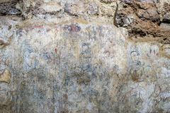 View of wall painting based on Buddhist culture in Ayuttaya period at Wat Ratchaburana which is the ancient Buddhist temple in the. Ayutthaya Historical Park royalty free stock photo