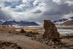 View of wall ruins in the Altiplano, Bolivia stock images