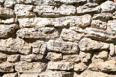 View of a wall of stones of irregular shapes Backgrounds textures for graphic design royalty free stock photos