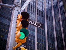 View on wall street yellow traffic light with black and white po royalty free stock photos